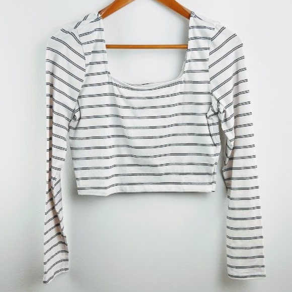 Ten Sixty Sherman Tops - Ten Sixty Sherman Square Neck Stripe Crop Top